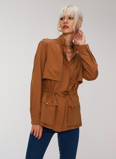 People By Fabrika Cepli Tencel Ceket Camel